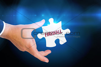 Firewall against blue background with vignette