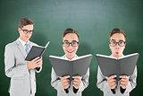 Composite image of nerd reading book