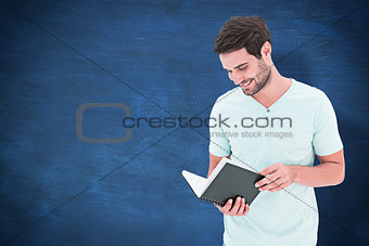 Composite image of student reading book