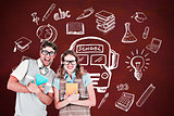 Composite image of geeky hipster couple holding books and smiling at camera