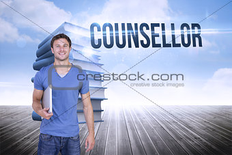 Counsellor against stack of books against sky