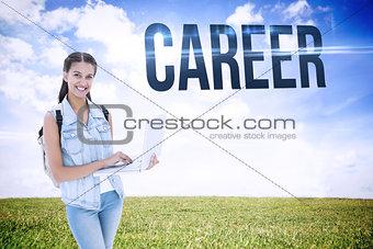 Career against serene landscape
