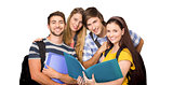 Composite image of students holding folders at college corridor