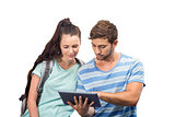Composite image of students using tablet pc