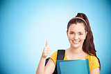 Composite image of student with thumbs up