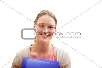 Composite image of teaching student smiling