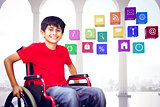 Composite image of portrait of boy sitting in wheelchair