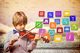 Composite image of cute little boy playing violin
