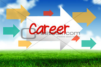 Career against blue sky over green field