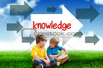 Knowledge against blue sky over green field