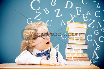Composite image of surprise pupil looking at books