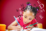 Composite image of cute pupil writing at desk in classroom