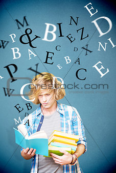 Composite image of student reading