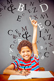 Composite image of cute little boy raising hand