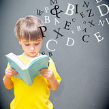 Composite image of pupil reading book