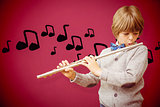 Composite image of cute pupil playing flute
