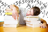 Composite image of student asleep in the library