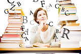 Composite image of thoughtful teacher at library