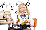 Composite image of blonde pupil reading a book