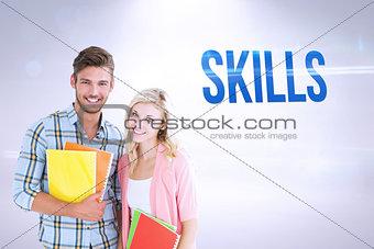 Skills against grey background