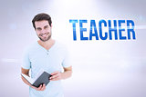 Teacher against grey background