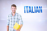 Italian against grey background