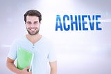Achieve against grey background