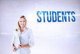 Students against grey background