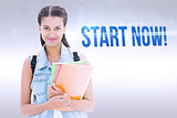 Start now! against grey background