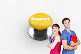 Support against yellow push button