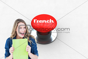 French against digitally generated red push button
