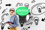 Phonics against digitally generated green push button