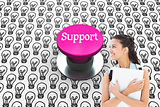 Support against pink push button
