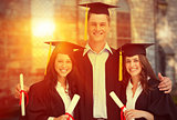 Composite image of three friends graduate from college together