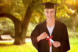 Composite image of teen guy celebrating graduation