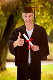 Composite image of happy teen guy celebrating graduation