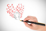 Composite image of businesswomans hand writing with fountain pen