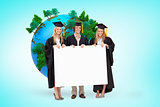 Composite image of three students in graduate robe holding a blank sign