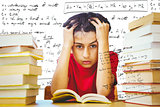 Composite image of tensed boy sitting with stack of books
