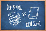 Composite image of old school vs new school doodle