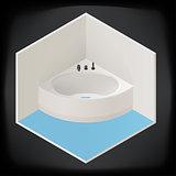 Jacuzzi corner bath isometric