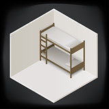 bunk bed isometric perspective view