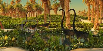 Omeisaurus Dinosaur Watering Hole