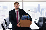 Portrait Just Hired Business Man With Crate Box Smiling