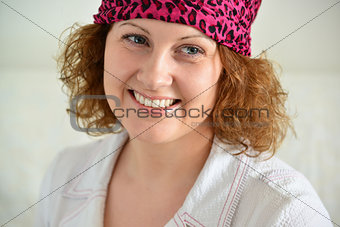 Portrait of woman with  scarf on her head like a gypsy