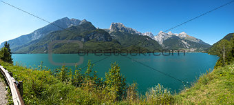 Molveno lake and Dolomiti di Brenta group