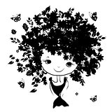 Floral female portrait, black silhouette for your design