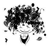 Autumn female portrait, black silhouette for your design