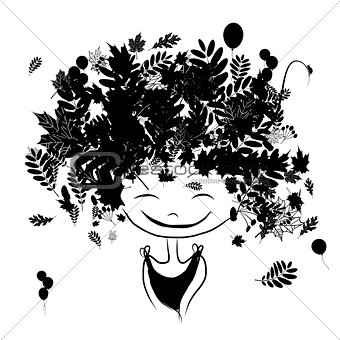 Autumn female portrait, black silhouette for your design