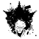 Christmas female portrait, black silhouette for your design
